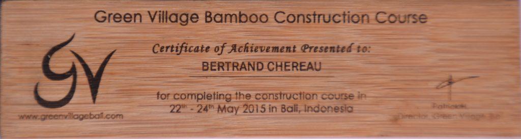 Certificat de formation à Bali de Bambou Créations