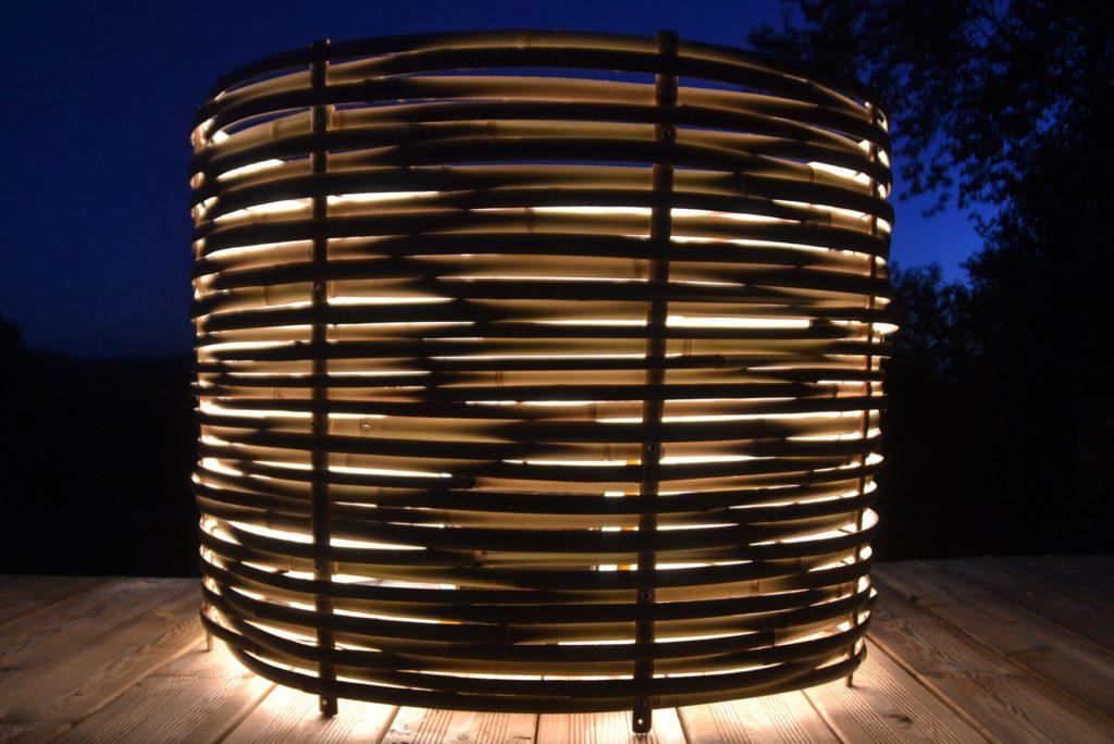 Grosse lampe tressée en bambou - bambou créations