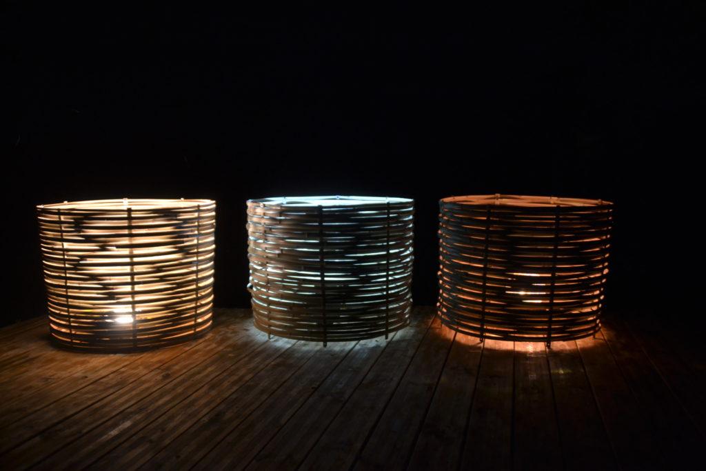 Luminaires modulables en 3 lampes - bambou créations