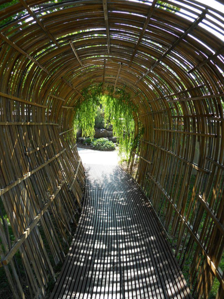 Tunnel en lamelles de bambou