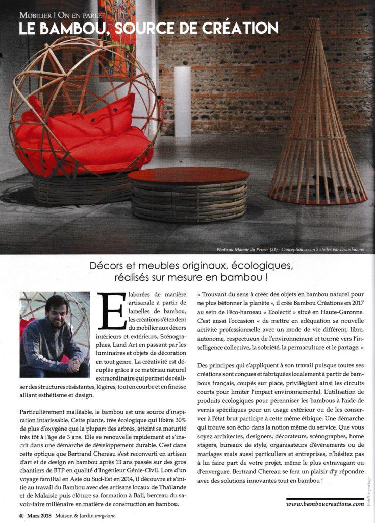 Magazine Maison & Jardin - Article sur Bambou Créations